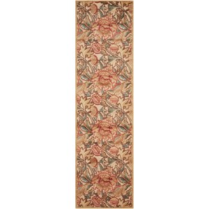 "Nourison Graphic Illusions 2'3"" x 8' Light Gold Runner Rug"