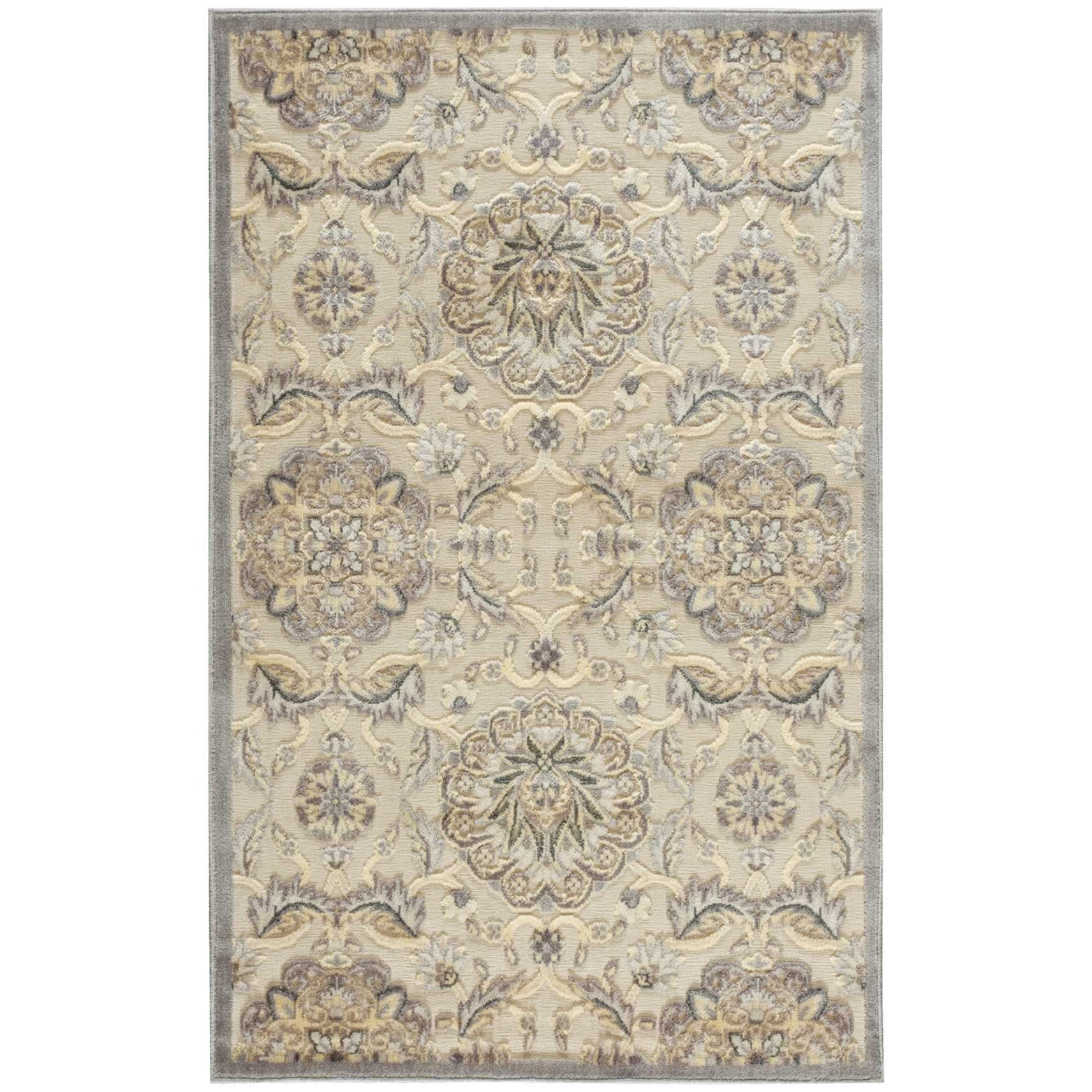 """Nourison Graphic Illusions 3'6"""" x 5'6"""" Ivory Rectangle Rug - Item Number: GIL12 IV 36X56"""