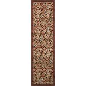 "Nourison Graphic Illusions 2'3"" x 8' Chocolate Runner Rug"