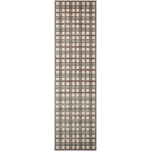 "Nourison Graphic Illusions 2'3"" x 8' Ivory/Taupe Runner Rug"