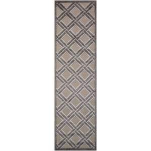 "Nourison Graphic Illusions 2'3"" x 8' Grey Runner Rug"