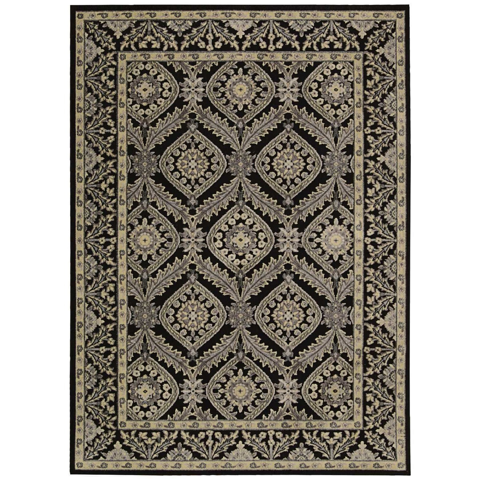 "5'3"" x 7'5"" Black Rectangle Rug"