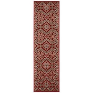 """Nourison Graphic Illusions 2'3"""" x 8' Red Runner Rug"""