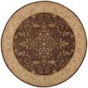 Nourison Heritage Hall 9' x 9' Brown Round Rug - Item Number: HE05 BRN 9X9
