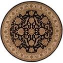 Nourison Heritage Hall 9' x 9' Black Round Rug - Item Number: HE19 BLK 9X9