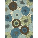 "Nourison Home & Garden 5'3"" x 7'5"" Light Blue Area Rug - Item Number: 11196"