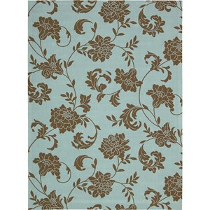 "Nourison Home & Garden 7'9"" x 10'10"" Light Blue Area Rug"