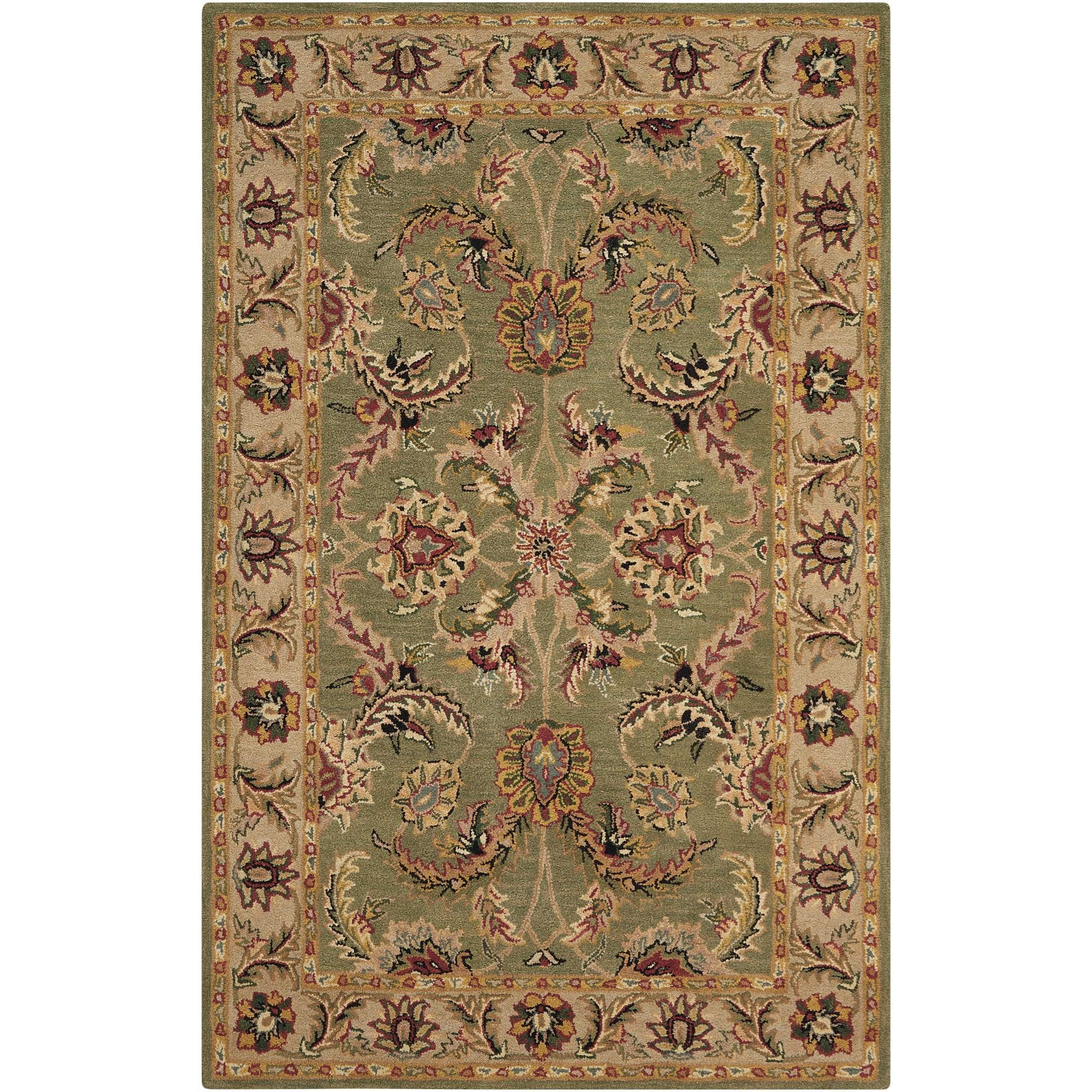Nourison India House 5' x 8' Green Rectangle Rug - Item Number: IH18 GRE 5X8