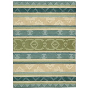 """Nourison India House 3'6"""" x 5'6"""" Blue Green Rectangle Rug"""
