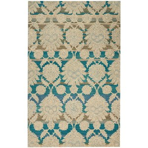 """Nourison India House 3'6"""" X 5'6"""" Ivory/Teal Rug"""
