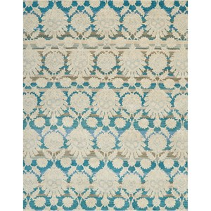 "Nourison India House 8' X 10'6"" Ivory/Teal Rug"