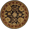Nourison Jaipur 8' x 8' Black Round Rug - Item Number: JA18 BLK 8X8
