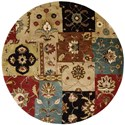Nourison Jaipur 6' x 6' Multicolor Round Rug - Item Number: JA37 MTC 6X6