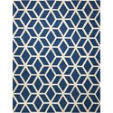 Nourison Linear 8' x 11' Blue/Ivory Rectangle Rug - Item Number: LIN01 BLUIV 8X11