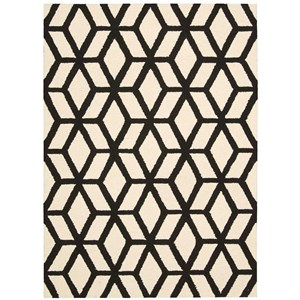"Nourison Linear 3'9"" x 5'9"" Ivory/Black Rectangle Rug"