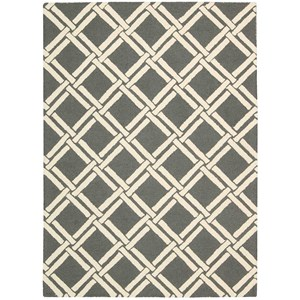 "Nourison Linear 3'9"" x 5'9"" Grey/Ivory Rectangle Rug"