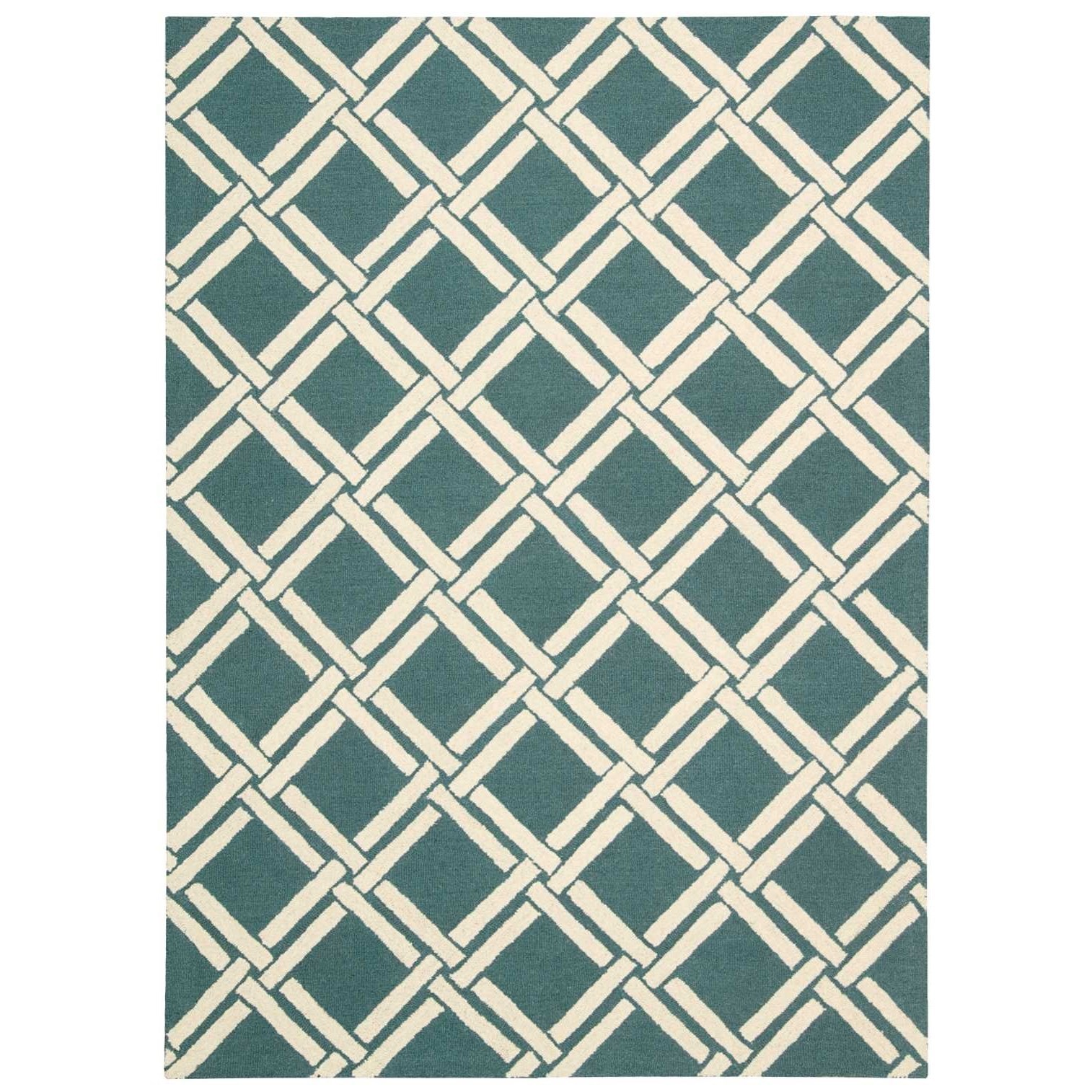 """3'9"""" x 5'9"""" Teal/Ivory Rectangle Rug"""