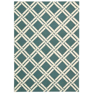 Nourison Linear 5' x 7' Teal/Ivory Rectangle Rug
