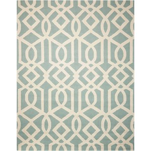 Nourison Linear 8' x 11' Aqua/Ivory Rectangle Rug