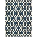 Nourison Linear 5' x 7' Blue/Ivory Rectangle Rug - Item Number: LIN07 BLUIV 5X7