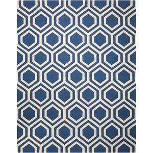 Nourison Linear 8' x 11' Blue/Ivory Rectangle Rug