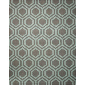 "Nourison Linear 7'6"" x 9'6"" Grey/Aqua Rectangle Rug"