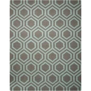 Nourison Linear 8' x 11' Grey/Aqua Rectangle Rug