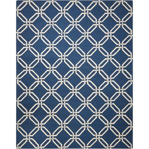 "Nourison Linear 7'6"" x 9'6"" Navy Rectangle Rug"