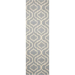 "Nourison Linear 2'3"" x 7'6"" Light Blue Runner Rug"