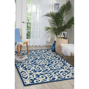 Nourison Linear 8' x 11' Navy/Ivory Rectangle Rug