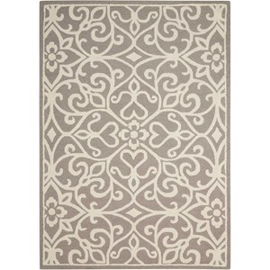 "Nourison Linear 7'6"" x 9'6"" Silver/Ivory Rectangle Rug"