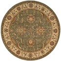 "Nourison Living Treasures 7'10"" x 7'10"" Green Round Rug - Item Number: LI04 GRE 710X710"