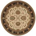 "Nourison Living Treasures 7'10"" x 7'10"" Ivory/Black Round Rug - Item Number: LI04 IBK 710X710"