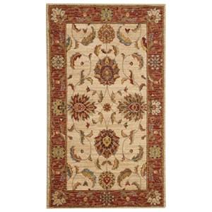 """Nourison Living Treasures 2'6"""" x 4'3"""" Ivory/Red Rectangle Rug"""