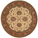 "Nourison Living Treasures 5'10"" x 5'10"" Ivory/Red Round Rug - Item Number: LI04 IRD 510X510"