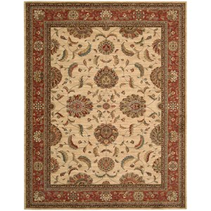 "Nourison Living Treasures 8'3"" x 11'3"" Ivory/Red Rectangle Rug"