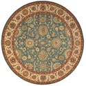 "Nourison Living Treasures 5'10"" x 5'10"" Aqua Round Rug - Item Number: LI05 AQU 510X510"