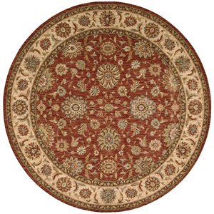 "Nourison Living Treasures 5'10"" x 5'10"" Rust Round Rug"