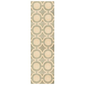 "Nourison Luminance 2'3"" x 8' Cream Grey Runner Rug"