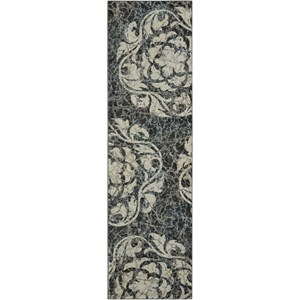 "Nourison Maxell 2'2"" X 7'6"" Ivory/Charcoal Rug"