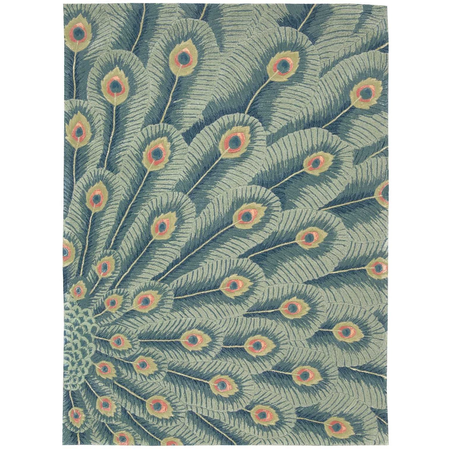 "Nourison Moda 9'6"" x 13'6"" Peacock Rectangle Rug - Item Number: MOD01 PEACO 96X136"