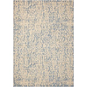 "Nourison Nepal 5'3"" x 7'5"" Ivory Blue Rectangle Rug"