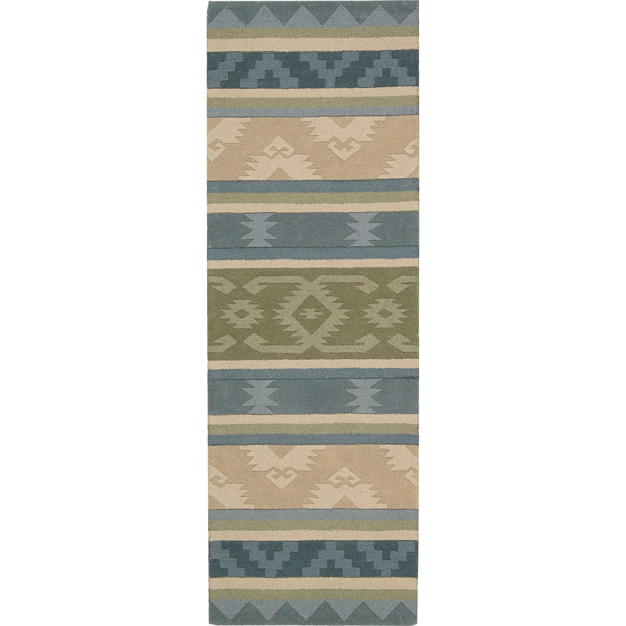 """Nourison India House 2'3"""" x 7'6"""" Blue Green Area Rug - Item Number: 22001"""