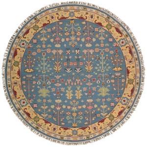 8' x 8' Blue Round Rug