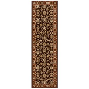"Nourison Persian Crown 2'2"" x 7'6"" Dark Brown Runner Rug"