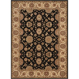 "Nourison Persian Crown 5'3"" x 7'4"" Black Rectangle Rug"