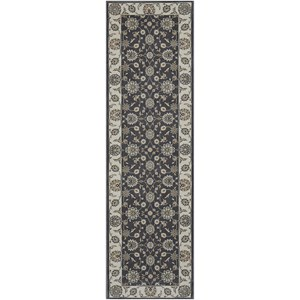 "Nourison Persian Crown 2'2"" x 7'6"" Charcoal/Ivory Runner Rug"