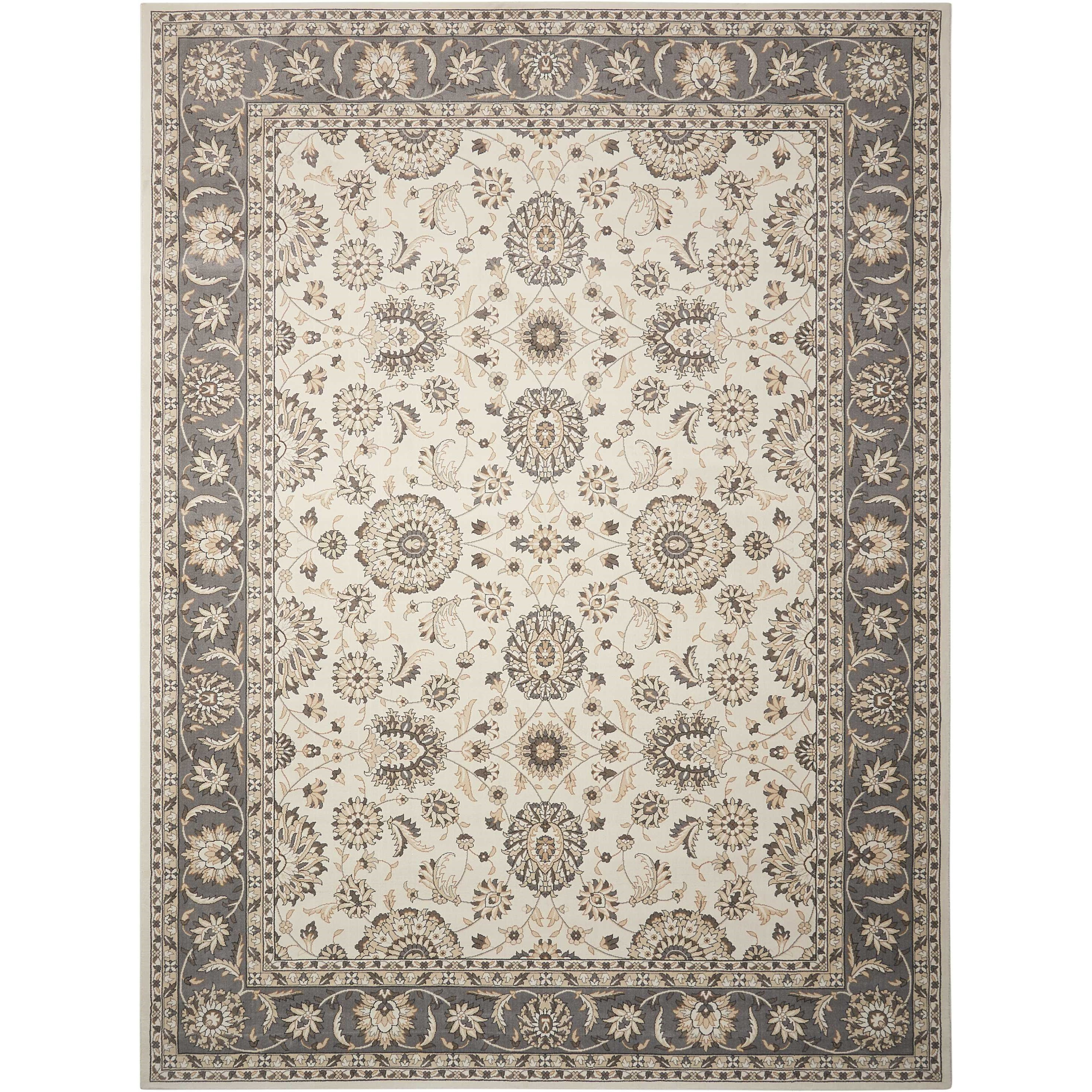 "Nourison Persian Crown 5'3"" X 7'4"" Iv/Grey Rectangle Rug"
