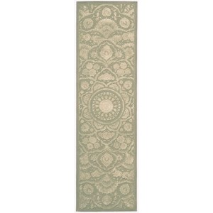 "Nourison Regal 2'3"" x 8' Green Runner Rug"