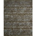 "Nourison Rhapsody 5'6"" x 8' Blue Moss Area Rug - Item Number: 25032"